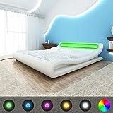 mewmewcat Cadre de lit avec LED 180 x 200 cm Cuir Artificiel Blanc Version Mise à...