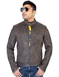 Bareskin men's Grey color leather jacket