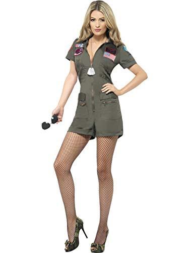 Fancy Ole - Damen Frauen Frauen Top Gun Aviator Pilotin Flieger Kostüm mit Overall und Sonnenbrille, perfekt für Karneval, Fasching und Fastnacht, M, Grün