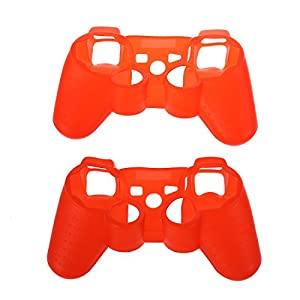 Kontroller Case fuer PS3 – TOOGOO(R) Rot Weiches Silikon Case fuer Kontroller (2 Pack) Kompatibel mit Sony PS3