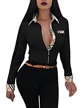 Lannister Fashion Camisas Mujer Elegantes Manga Larga Cuello Solapa Un Solo Pecho Slim Fit Blusas Hippies Moda...
