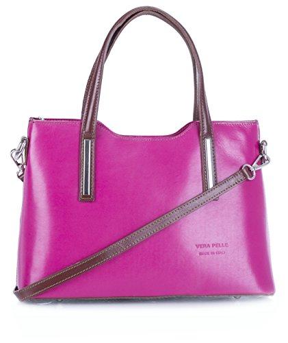 Big Handbag Shop - Borsa a tracolla donna Pink - Brown Trim