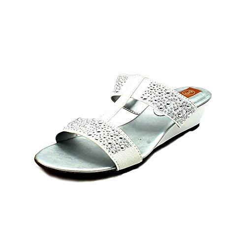 Il diamante elasticizzato del raso ha fissato i sandali / muli a basso cuneo White