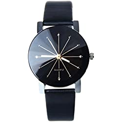 OverDose Women Convex Quartz Dial Clock Leather Wrist Watch Round
