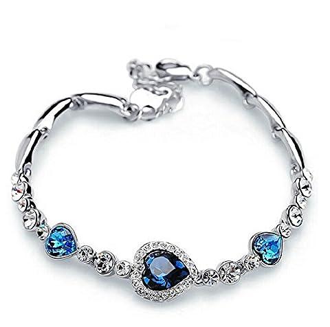 IXIQI Jewelry Bracelet pour femme en plaqué or blanc orné d'un cœur en cristal bleu, livré dans un coffret cadeau