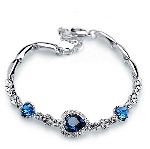 IXIQI Jewelry il mare Cuore Cristallo Blu Set braccialetto placcato in oro bianco 18K con zirconi Mini ideale per donne regolabile, con confezione regalo