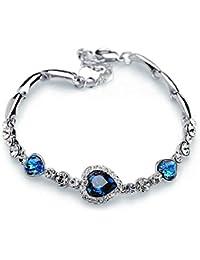 """ixiqi joyas """"corazón del océano"""" Corazón chapado en oro blanco cristal azul, infinito Amor color de plata pulsera regalos regalo para las mujeres con caja de regalo"""