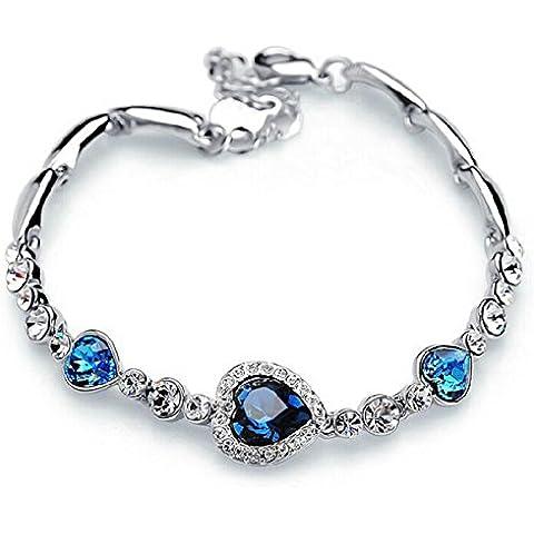 IXIQI Jewelry - Braccialetto argento con cristalli blu, motivo: