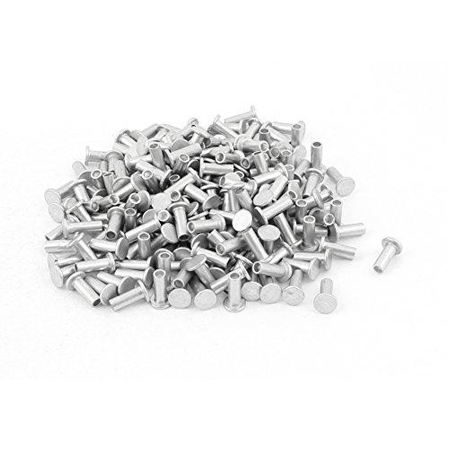 Sourcingmap® 200PCS M4x 10mm Aluminium flach Head semi-tubular Nieten Silber Ton