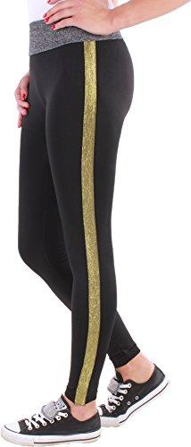 Black Denim Damen Leggings Pailetten Glitzer Disco Glamour Röhre Streifen Sport Hose F2 (Onesize, Schwarz/Gold)