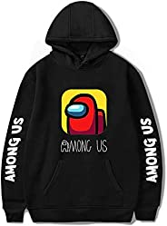Black cotton hoodie with among us game design