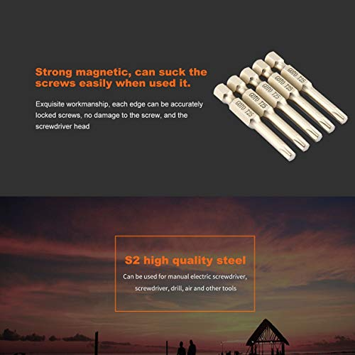 GOTO 5Pcs Alloy Steel Torx Schraubendreher Bit 50mm lang Long4.5 Magnetic Haushaltsreparaturwerkzeuge Schraubendreher Drill Set Tool-Silver-1 Größe (Drill-schraubendreher-set)