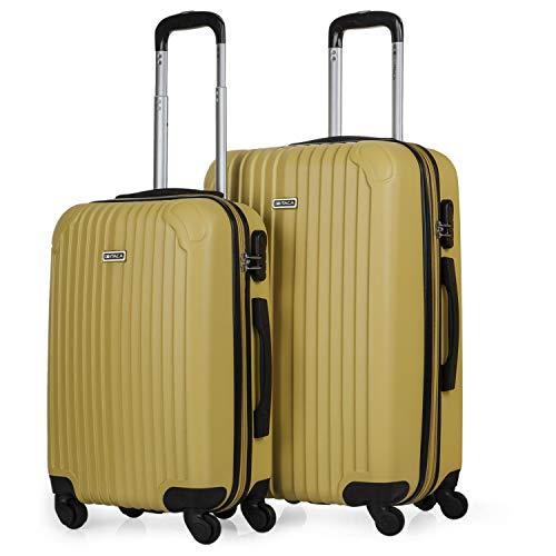 ITACA - Juego Maletas de Viaje 4 Ruedas Trolley Set 2. ABS. Rígidas Resistentes y Ligeras. Mango Asas y Candado. Pequeña Cabina Low Cost y Mediana Extensible. T71515, Color Mostaza