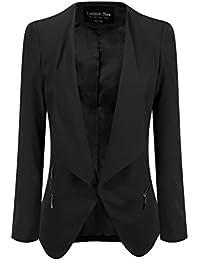 LookbookStore Blazer veste femme ouvert drapé asymétrique matelassé fermeture éclair
