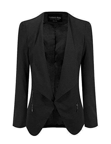 LookbookStore Damen Drapierter Langärmliger Blazer mit Vorne Offnung Seitentasche Einfarbig (EU 50, Schwarz) (Anbieter Reißverschluss)