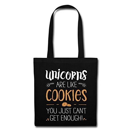 Spreadshirt Unicorns Are Like Cookies Einhörner Sind Wie Kekse Stoffbeutel, Schwarz