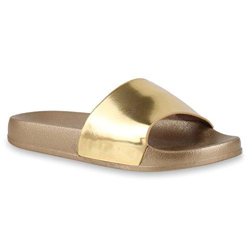 Damen Pantoletten Blumen Sandalen Strass Sommer Schuhe Gold Glanz