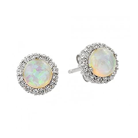 Sterling Silver Rhodium Plated Round Opal Cubic Zirconia Stud
