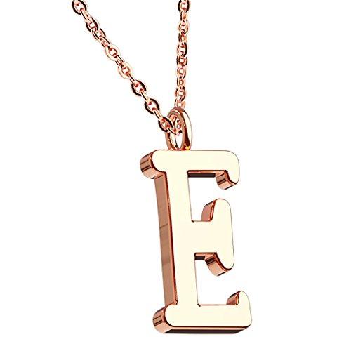 Mianova Damen Halskette Kette mit Buchstaben Anhänger Rosegold Vergoldet Buchstabe E