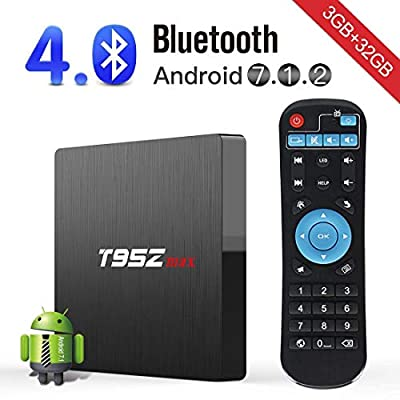 Android TV Box, Superpow T95Zmax Android 7.1 Smart Internet TV Box with 3GB RAM 32GB ROM, Amlogic S912 Octa-core cortex-A53 Smart 4K TV Box with Dual-band WiFi