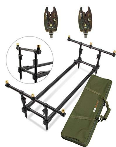 g8ds® Set Rod Pod Rutenhalter + Deluxe Tragetasche inklusive 2 Bissanzeiger mit Ton- und Lautstärkeregler LED´s, Camo, Karpfen, Angeln -