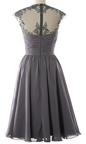 Women High Neck Cap Sleeve Lace Short Bridesmaid Dress Wedding Party Ball Gown gray