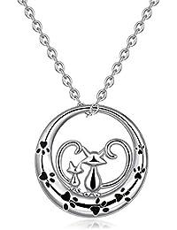 Collar de plata para mujer, plata de ley 925, colgante doble para cachorro de gato