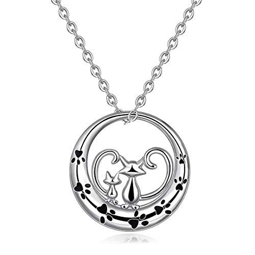 """Silber Halskette für Frauen, 925 Sterling Silber Welpen Doppelt Katzen Anhänger Halskette\""""Immer bei dir sein\"""", AEONSLOVE Schmuck mit Geschenk verpackt Best für Damen/Frau/Mädchen"""
