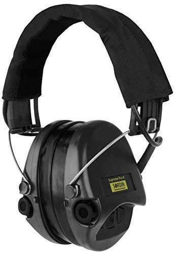 Sordin Supreme PRO X - Aktiver Gehörschutz SOR75302-X-02-G, Elektronischer Gehörschützer, Gel-Kits, Stoffband, Schwarze Cups (Baby Ear Muffs)