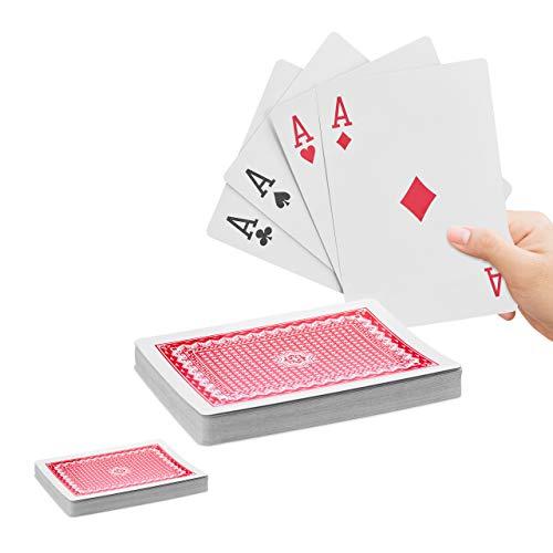 Relaxdays 2 x Jumbo Pokerkarten, 108 Karten, wasserfeste XXL-Kunststoffspielkarten, Spaßgeschenk oder Deko,18 x 13 cm, bunt
