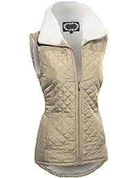 Couture veste avec poches et doublure en fausse fourrure sans manches fermeture éclair facile