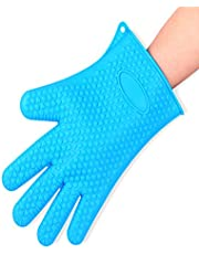 Hot Hands Heat Resistant Silicone Gloves Mitts for Grilling, BBQ, Kitchen, Cooking, Baking, Pots, Pans, Smoking and Oven - 1 Pair (Muti Color)