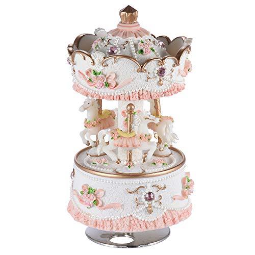 BGFBHTY Spieluhr 3-Pferdekarussell Spieluhr Artware/Gift Melody Castle im Himmel Rosa/Lila/Blau/Gold für Option -