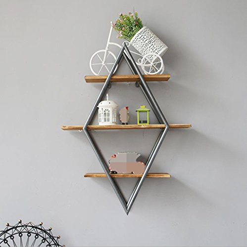 ASL Einfache Ironwood-Kombination Holz Farbe Diamant Regal Home Improvement Coffee Shop Wand Hanging Storage Rack 80 * 60 * 20cm Qualität ( Farbe : #1 ) - Ironwood Holz