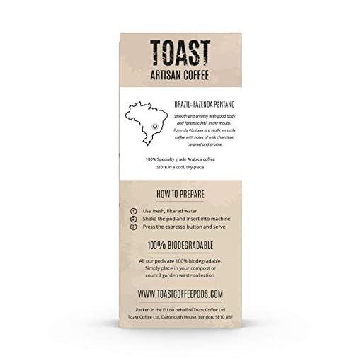 Toast Artisan Coffee – Biodegradable Nespresso Compatible Coffee Pods (Pack of 50)
