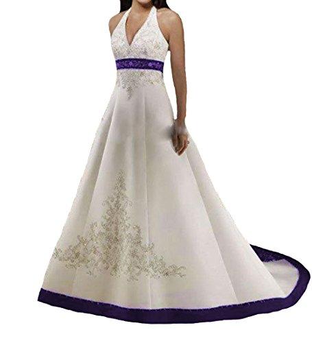 O.D.W A-Linie Frauen Satin Gestickt Lange Mehrfarbig Vintage Hochzeitskleider Gotisch Brautkleider...