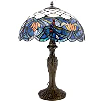 Tiffany Style Table Desk Beside Lamp 24 Inch Tall Sea Blue Stained Glass Shade Crystal Bead Dragonfly 2 Light Antique Resin Base For Living Room Bedroom (S220)