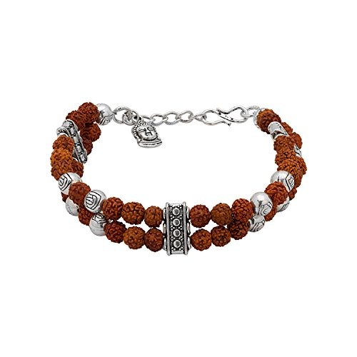 Voylla Voylla Designer Silver Plated Beaded Bracelet for Men (Silver) (8907275977452)