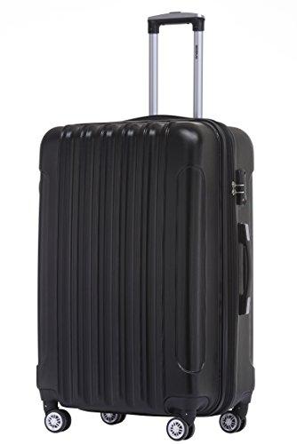 BEIBYE TSA Schloß, Zwillingsrollen, Dehnungsfuge, Hartschale Trolley Koffer Kofferset Reisekoffer Gepäckset (Schwarz) - 2