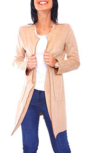 Damen Jersey Velours Kurzmantel Mantel Kurz Blazer Anzug Jacke Lang Rundhals Ausschnitt Kragenlos Uni One Size Beige