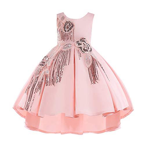 2a86e8c19f1b YFCH Royal Bambina Filati Netti Ricamo Fiore Vestiti da Cerimonia Eleganti Senza  Maniche Matrimonio Partito Comunione