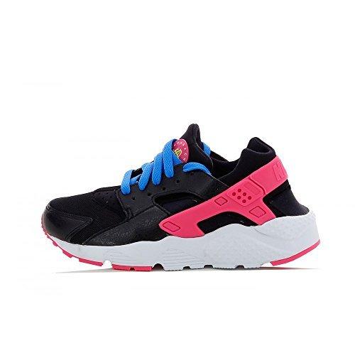 Nike Mädchen Huarache Run (GS) Laufschuhe, Mehrfarbig(Schwarz / Grün / Rosa / Blau