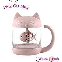 Taza de té de cristal del gato Taza De Agua Bottle-With Fish Tea Filtro filtro de infusión 250ml (8oz) (Rosa)