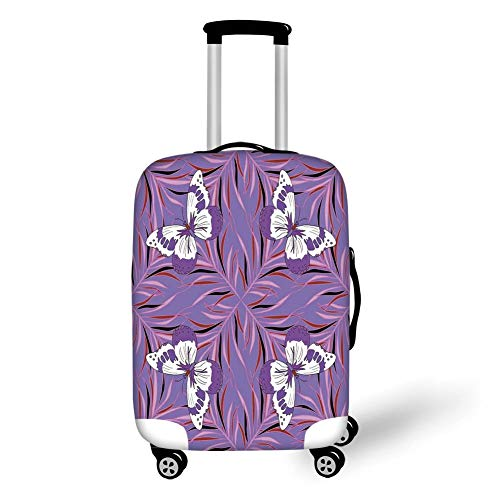 Travel Luggage Cover Suitcase Protector,Mauve Decor,Exquisite Butterfly Icons Spiritual Animal with Wings Fairy Illustration,Lavender White,for Travels 19x27.5Inch -