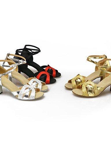 ShangYi Scarpe da ballo - Non personalizzabile - Donna - Latinoamericano - Stiletto - Eco-pelle - Nero / Argento / Oro Gold