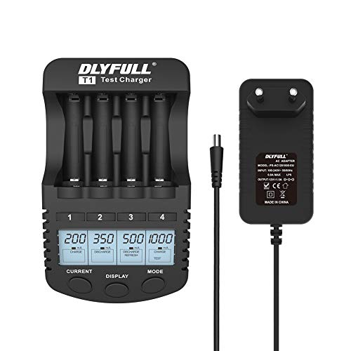 DLYFULL Akkus Ladegerät für NI-MH/CD AA,AAA Schnellladegerät mit 1000mA Ladestrom Intelligentes mit 4 Modi: Charge, Test,Discharge,Refresh mit LCD Display und USB Port Schwarz