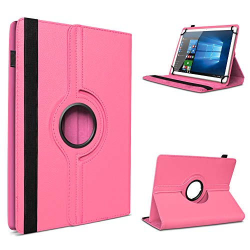 UC-Express Tablet Schutzhülle für 10-10.1 Zoll Tasche aus hochwertigem Kunstleder Standfunktion 360° Drehbar Universal Case Cover, Farben:Pink, Tablet Modell für:Acepad A96