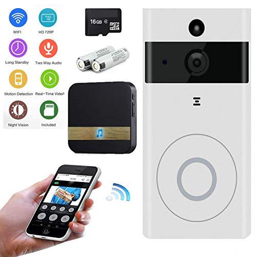 KOBWA Video Doorbell Traje, Inalámbrico Videoportero 720HD con Audio bidireccional detección de Movimiento y conexión wi-fi App for iOS/Android/Windows (M9 Estilo)