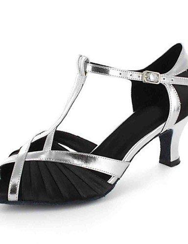 Moderne Mode Sandalen anpassbar - die Frauen tanzen Schuhe Kunstleder Kunstleder Latein Sandalen angepasste Ferse Praxis Schwarz/Blau/Braun/Lila/Rot/Gold Gold
