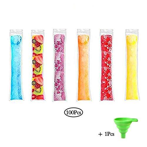 Eis Rod Mold Ice Lolly Moulds Einwegbeutel mit Eis am Stiel (100 Stück), Beutel mit Lutscherform for gesunde Snacks mit Silikontrichter, Joghurtsticks, Fruchtsaft- und Fruchtsmoothies, Ice Candy Pops